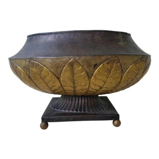 Indian Brass Pedestal Planter