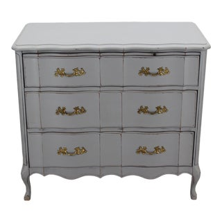Mid Century Provincial 3-Drawers Commodes - Mid Century Dresser - Grey Dresser - Grey Chest of Drawers For Sale