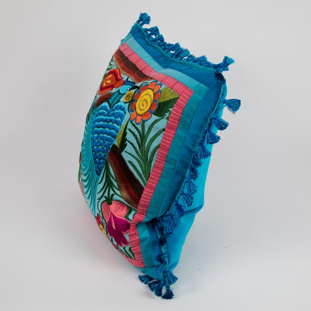 Folk Art Modern Guatemalan Bird Embroidered Pillow For Sale - Image 3 of 5