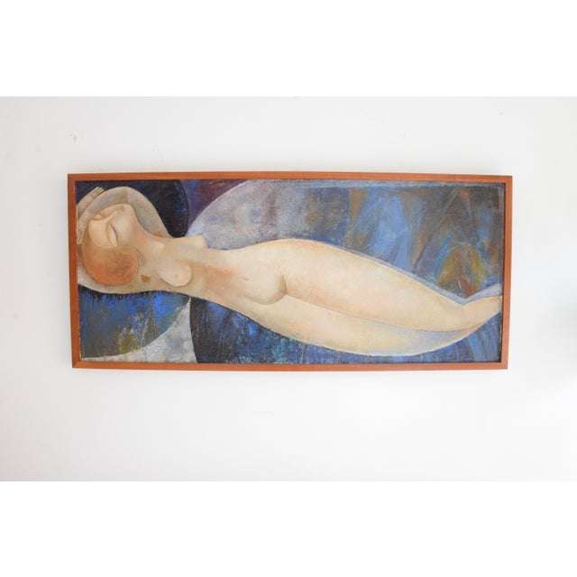 1930s Modigliani Style Reclining Nude Original Oil Painting, Framed Early 1900's Russia For Sale - Image 5 of 6
