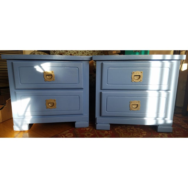 Handpainted Light Blue Nightstands - a Pair For Sale In Los Angeles - Image 6 of 6