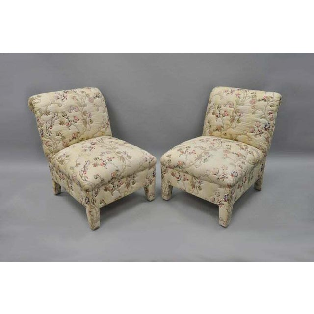 Hollywood Regency Vintage Upholstered Chinoiserie Slipper Lounge Chairs- A Pair For Sale - Image 3 of 11