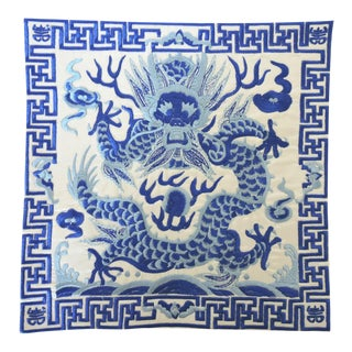 Ming Blue & White 'Dragon' Lamp Mat For Sale