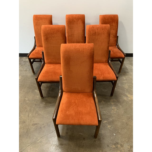 Set of 8 Orange Velvet & Walnut Dining Chairs By Henredon for Architectural Digest! Two arm chairs and six side chairs....