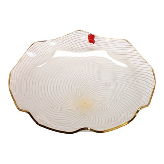 1960s Op Art Mf Crystal Denmark Gold Filagree Spiral Bent Glass Platter For Sale