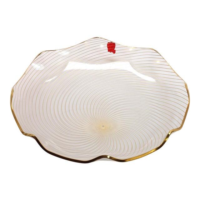 1960s Op Art Mf Crystal Denmark Gold Filagree Spiral Bent Glass Platter For Sale