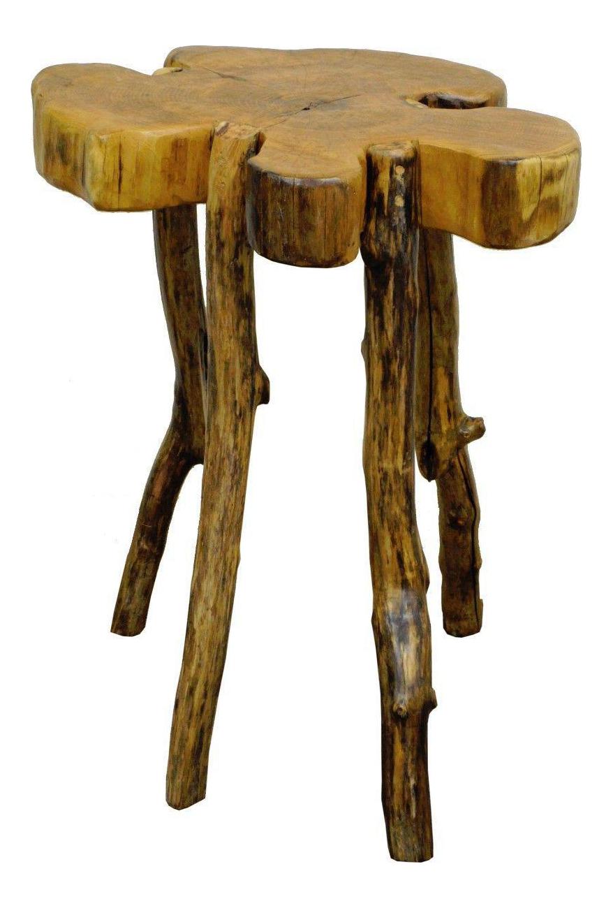 Handmade Robert Powchik Rustic Log Tree Branch Primitive Occasional Side  Table