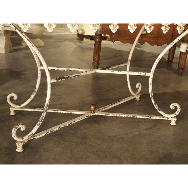 Large Antique French Iron and Marble Butcher Display Table, Circa 1915 For Sale - Image 9 of 11