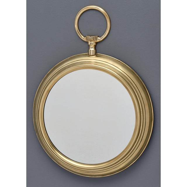 Metal French Brass Vintage Pocket Watch Mirror For Sale - Image 7 of 10