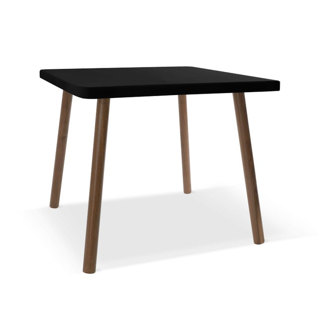 "Nico & Yeye Tippy Toe Large Square 30"" Kids Table in Walnut With Black Finish Accent For Sale - Image 4 of 4"