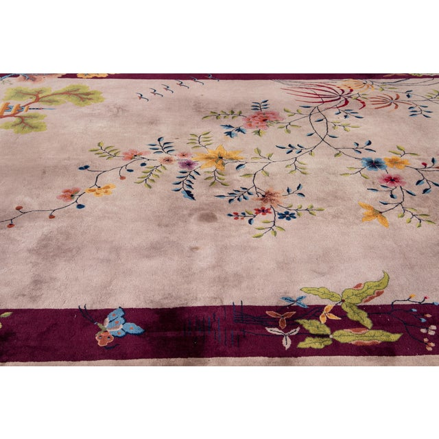 Early 20th Century Early 20th Century Antique Art Deco Chinese Wool Rug For Sale - Image 5 of 8