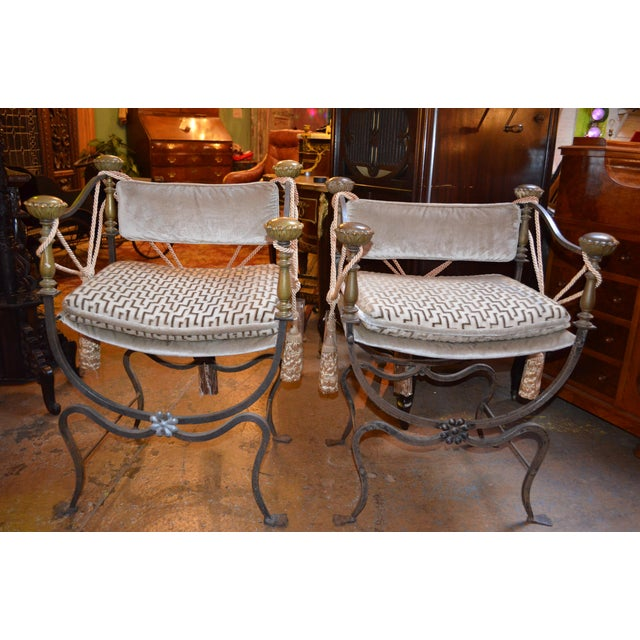 Gray Late 19th Century Antique Italian Curule Savonarola Campaign Throne Chairs- A Pair For Sale - Image 8 of 8