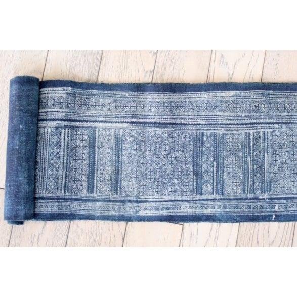 Boho Chic Vintage Silver Indigo Batik Fabric Roll For Sale - Image 3 of 7