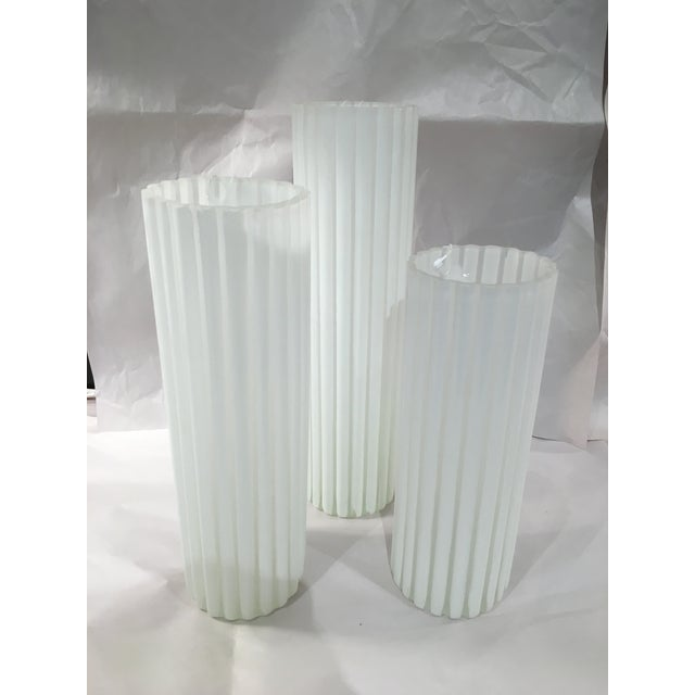 Ribbed White Glass Vases Set Of 3 Chairish