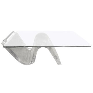1970s Mid Century Modern Acrylic Cantilevered Cocktail Table With Glass Top For Sale