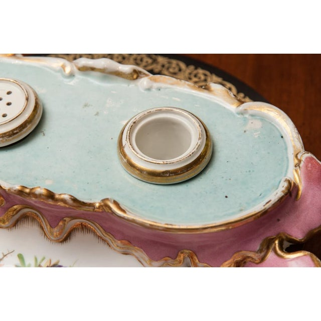 19th Century French Porcelain Inkstand With Ink Pot and Sander For Sale - Image 4 of 6