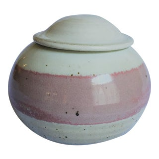 Late 20th Century Signed Studio Pottery Jar With Lid and Ombre Stipe of Blush For Sale
