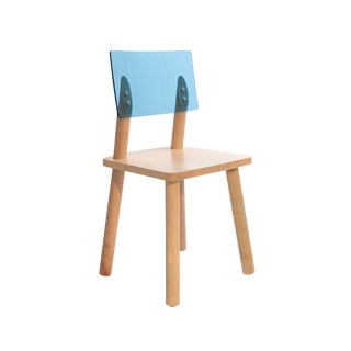 AC/BC Chair in Solid Maple With Blue Acrylic Back For Sale