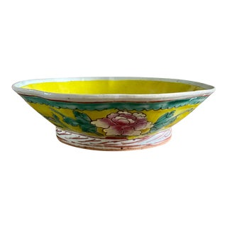 Mid 20th Century Chinoiserie Yellow Pedestal Decorative Bowl For Sale