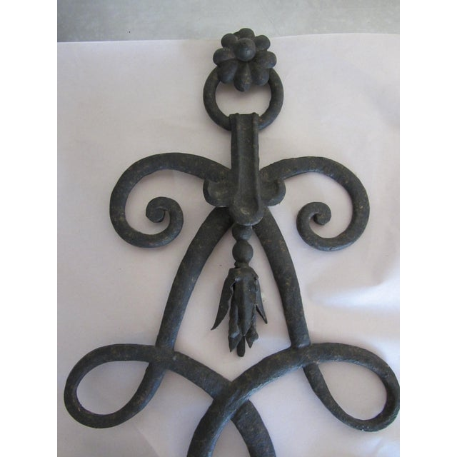 Wrought Iron French Scroll Sconces - A Pair - Image 4 of 7