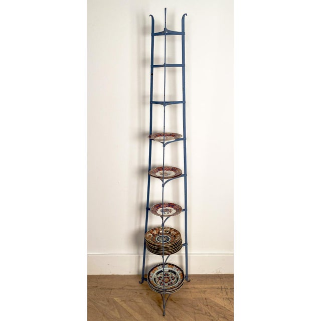 Antique American Blue Iron Plate Rack For Sale In San Francisco - Image 6 of 7