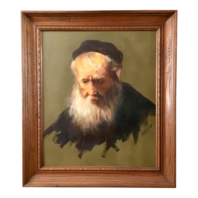 """Vintage Rennaisance Baroque Replica Rembrandt """"Head of an Old Man in a Cap"""" Oil Painting For Sale"""