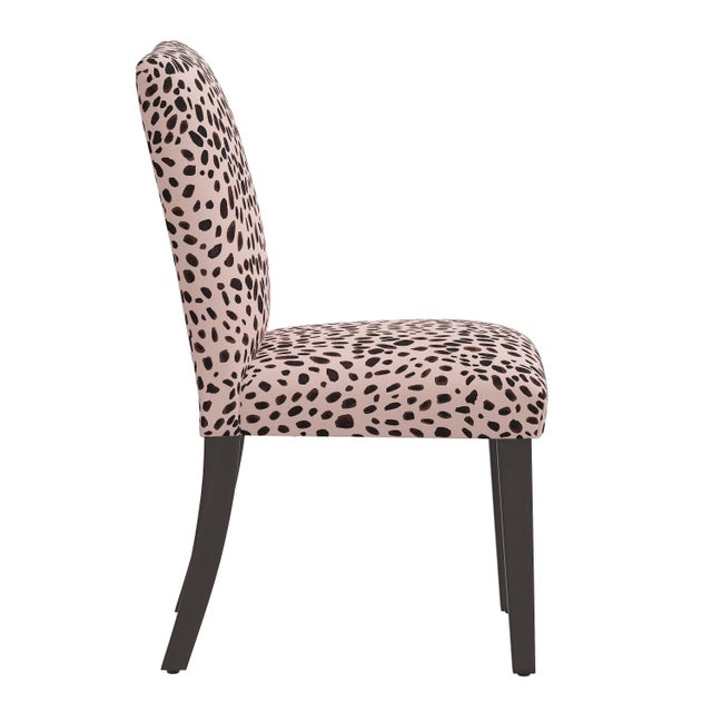 Transitional Dining Chair in Washed Cheetah Pink Black For Sale - Image 3 of 8