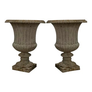 Pair of French Painted Garden Urns For Sale