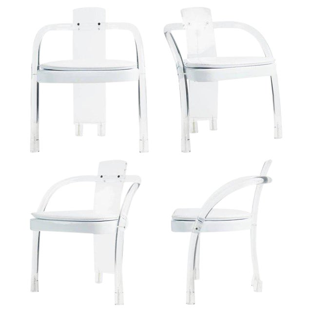 Hill Manufacturing Lucite Waterfall Armchairs - Set of 4 For Sale