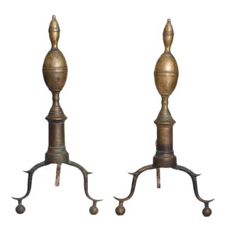 American Federal Period Lemon Top Andirons - A Pair