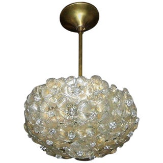 Murano Italian Glass Floral Flower Light Ceiling Pendant For Sale