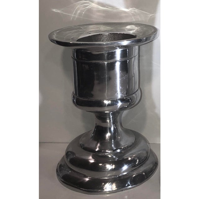 Polished Pewter Hollowware Candle Holders - Set of 3 Tall Silver Taper and Pillar Candle Holders Mexico For Sale - Image 4 of 13