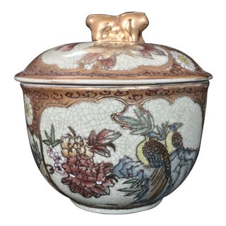 Vintage Royal Satsuma Nippon Vessel Lidded Trinket Candy Box For Sale