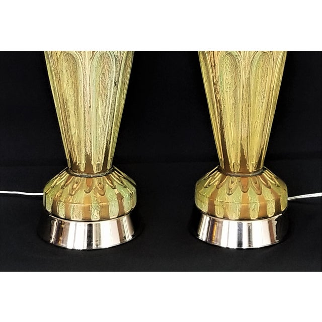 Pair Ceramic Table Lamps - Fully Restored- Faux Marbleized Green Gold and Nickel Plated For Sale In Miami - Image 6 of 11