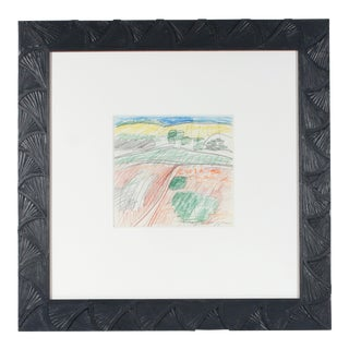 Colorful Abstract Expressionist Colored Pencil and Graphite Landscape Drawing, 1971 For Sale
