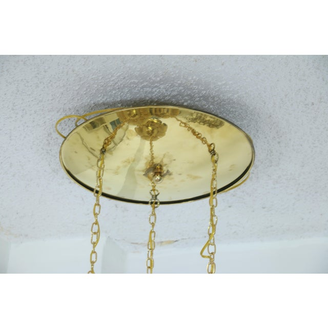 """Brass """"Lotus"""" 3 Tier Pendant Light Fixture For Sale In Los Angeles - Image 6 of 7"""