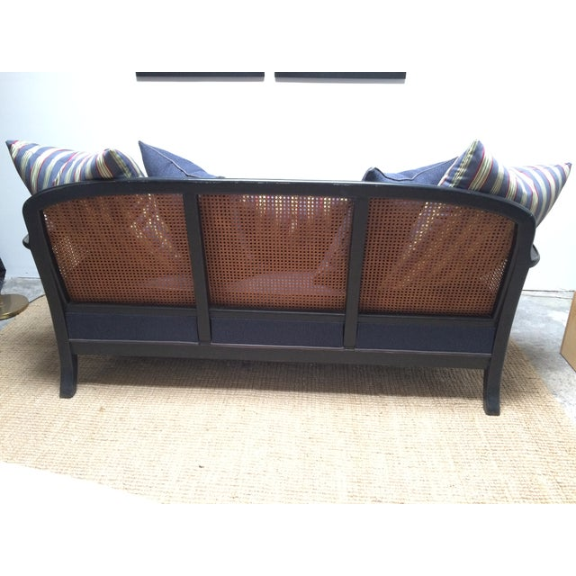 Chinoiserie Cane Back Settee With Pillows - Image 7 of 11