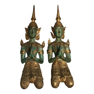 Vintage Bronze Gilt Kneeling Teppanom Male Angel Statuettes - a Pair For Sale