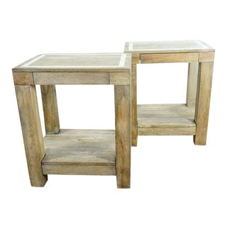 West Elm Single Drawer Two Tier End Tables - a Pair