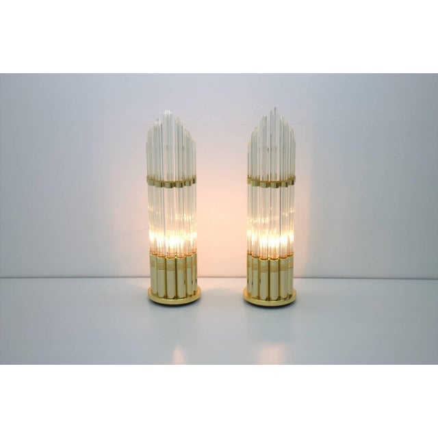Pair of Murano Glass Table Lamps With Gilded Base, Italy, 1970s For Sale - Image 6 of 7