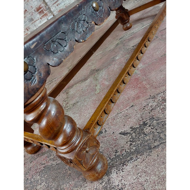 Animal Skin Antique Spanish Colonial Bench-Beautiful Carved Wood & Embossed Leather For Sale - Image 7 of 10