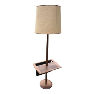 Laurel Mid-Century Modern Walnut Floor Lamp with Sued Magazine Rack For Sale