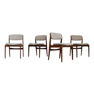 Set of 4 Mid-Century Modern Teak Side Dining Chairs For Sale