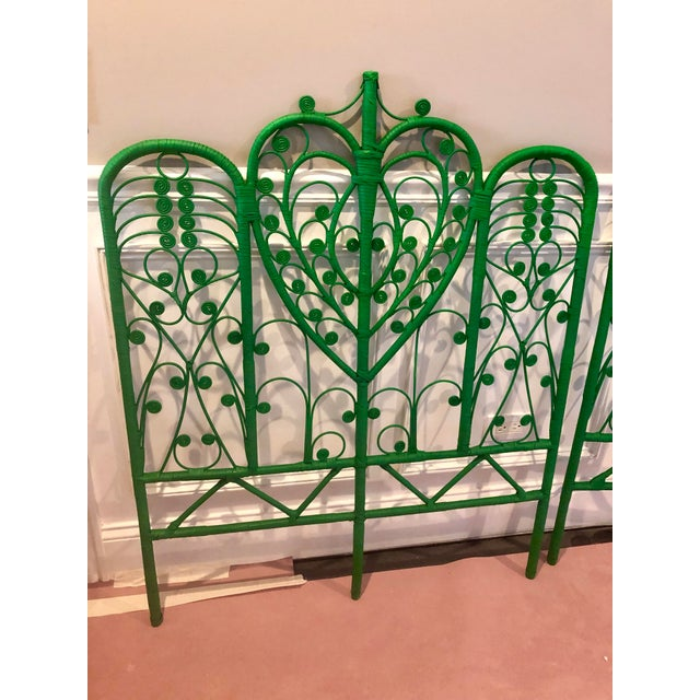 Green Vintage Boho Chic Wicker Emerald Green Twin Headboards - a Pair For Sale - Image 8 of 10