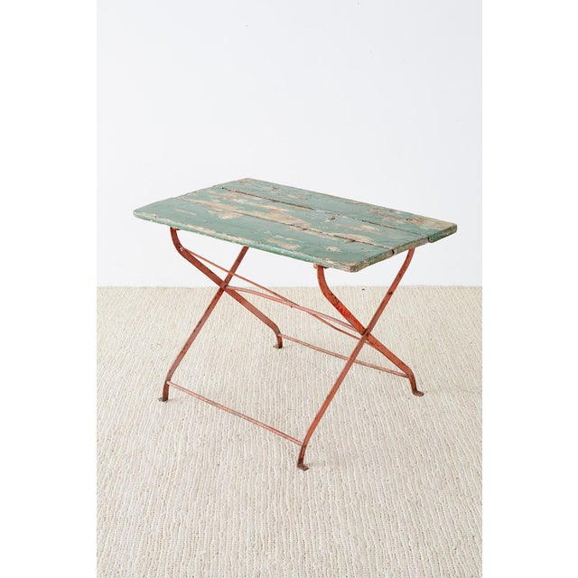 French French Folding Iron Garden or Bistro Style Dining Table For Sale - Image 3 of 13