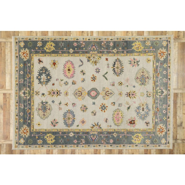 Beige Contemporary Oushak Transitional Area Rug - 9′ × 12′7″ For Sale - Image 8 of 10