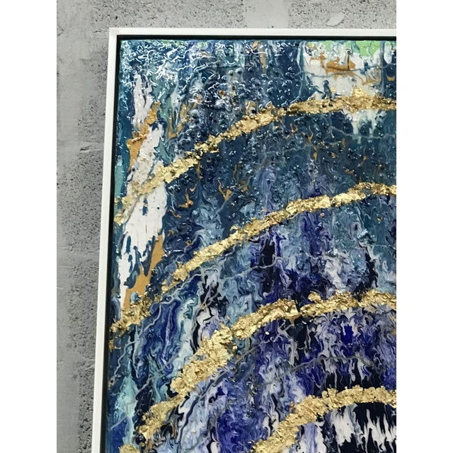 Canvas Abstract Framed Oil Painting With Resin and Rock Crystal on Canvas by Franchy For Sale - Image 7 of 13
