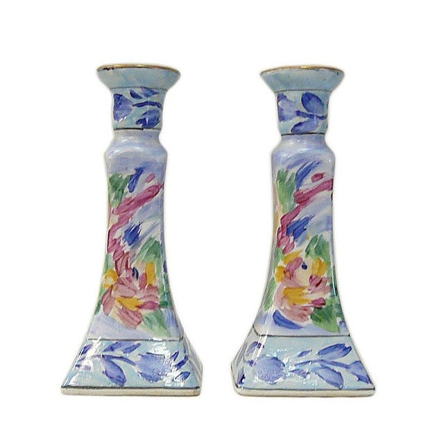 Chinese Porcelain Color MIX Graphic Candle Holders - a Pair For Sale In San Francisco - Image 6 of 6