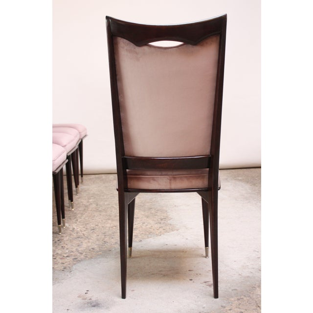 Mahogany Set of Six Mid-Century Italian Dining Chairs With Nickel Sabots For Sale - Image 7 of 13