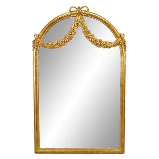 French Louis XVI Style Gilt Wood Swag Design Wall Mirror For Sale